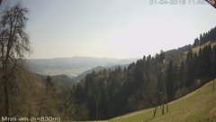 view from VREME ŽIRI-cam-3-VZHOD-Mrzli vrh on 2019-04-01