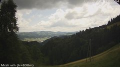 view from VREME ŽIRI-cam-3-VZHOD-Mrzli vrh on 2019-07-15