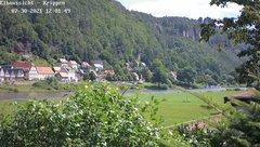 view from Webcam in Bad Schandau Sächsische Schweiz on 2021-07-30