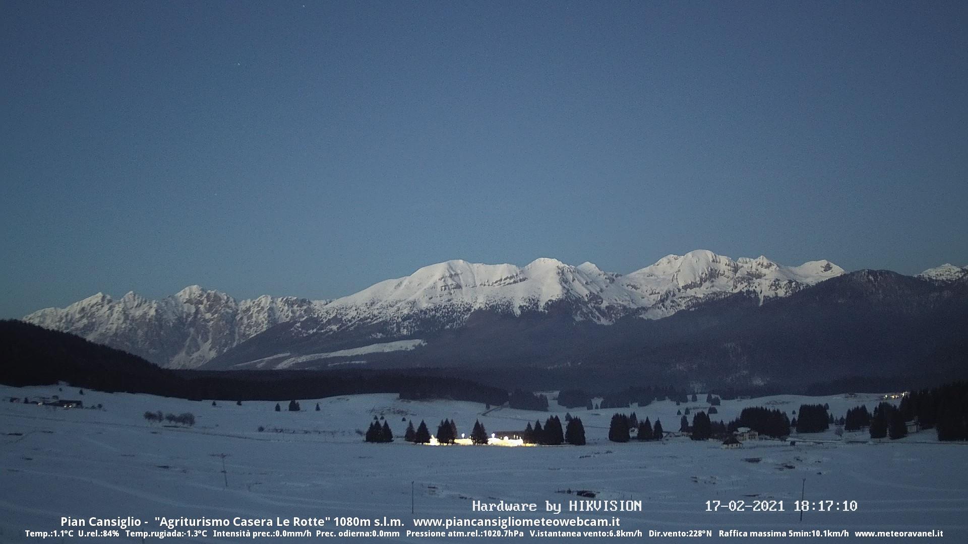 time-lapse frame, Discesa dal Guslon 17.02.2021 webcam
